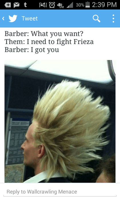 Hair - 2:39 PM 4E 30% Tweet Barber: What you want? Them: I need to fight Frieza Barber: I got you Reply to Wallcrawling Menace