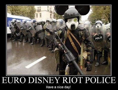 euro disney,riot,funny,police