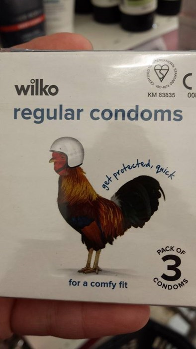 Regular Condoms include a rooster wearing a helmet, that's how condoms work
