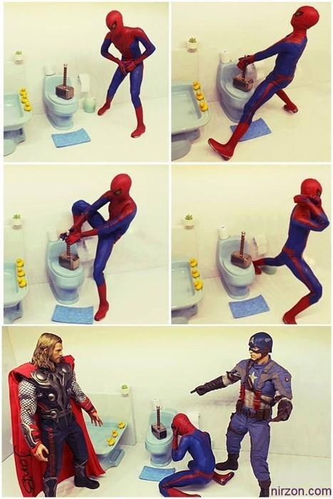 superheroes-spiderman-marvel-thor-mjolnir-prank