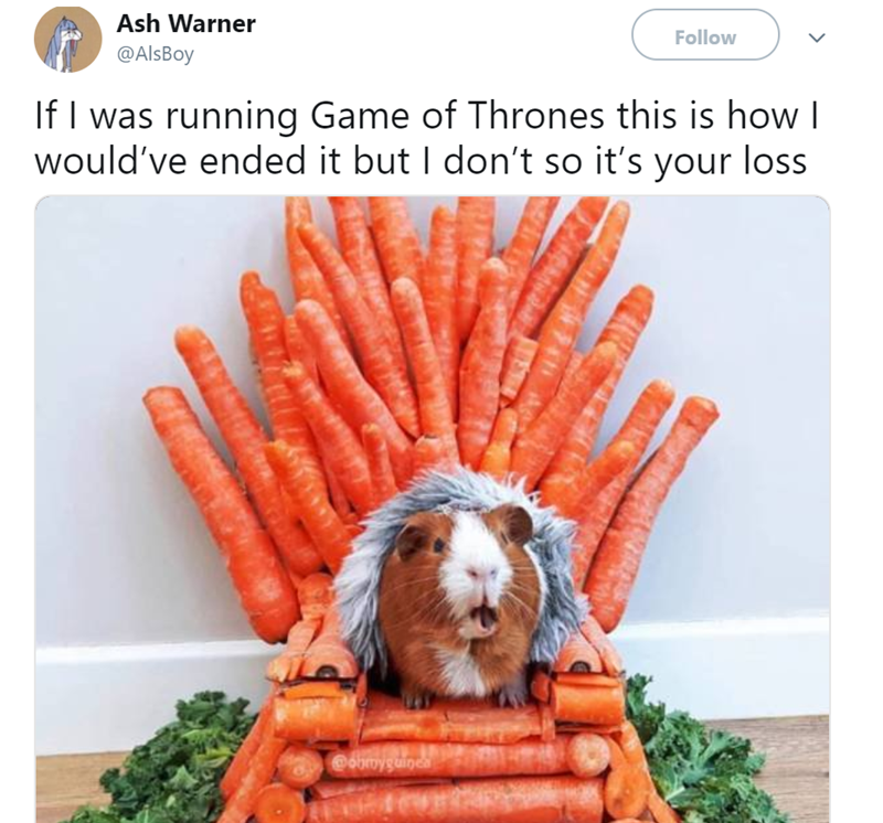 Hamster sitting on a Game of thrones chair