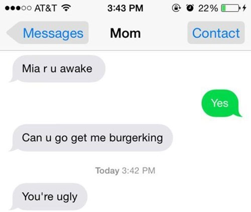texting,mom,fast food,burn