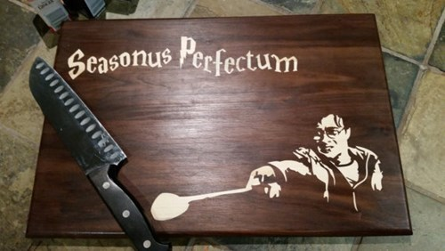 geeky merch harry potter cutting board