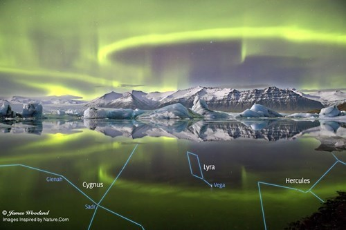 constellations reflected in the lagoon