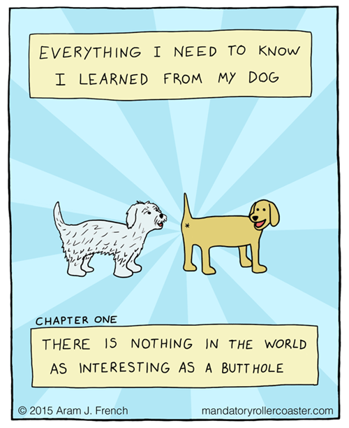 Text - EVERYTHING I NEED TO KNOW MY DOG I LEARNED FROM レイ CHAPTER ONE THE RE IS NOTHING IN THE WORLD AS INTERESTING AS A BUTT HOLE O 2015 Aram J. French mandatoryrollercoaster.com