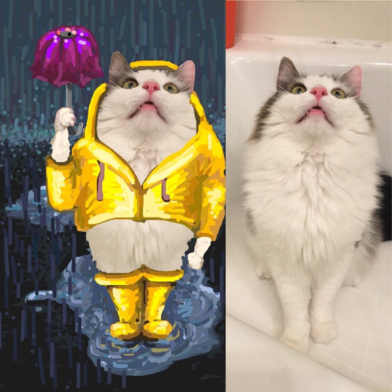 artist makes artwork out of snapchat cats and other animals