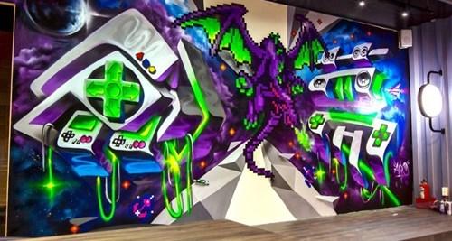 epic-win-pics-street-art-pixel-dragon