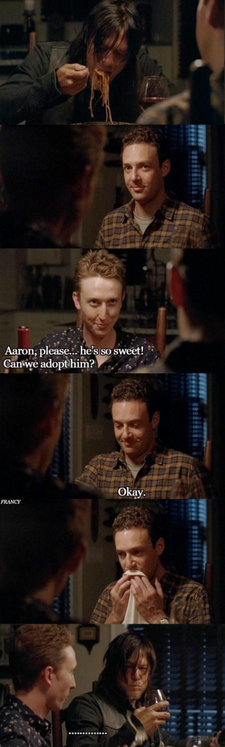 funny-walking-dead-daryl-dixon-aaron-spaghetti-couple-adopt-cute