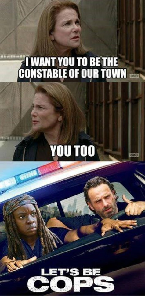 funny-walking-dead-lets-be-cops-rick-michonne
