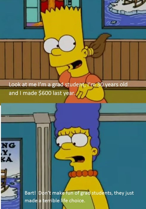 the simpsons knows it doesn't pay to be a grad student