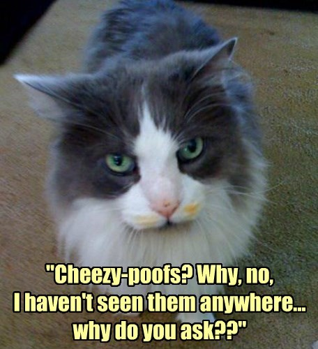 """Cheezy-poofs? Why, no,  I haven't seen them anywhere...  why do you ask??"""
