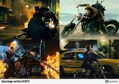 súper héroes en moto