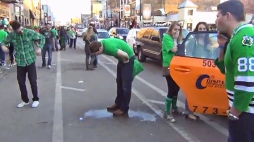 guy just can't hold his brown during the st. patrick's weekend