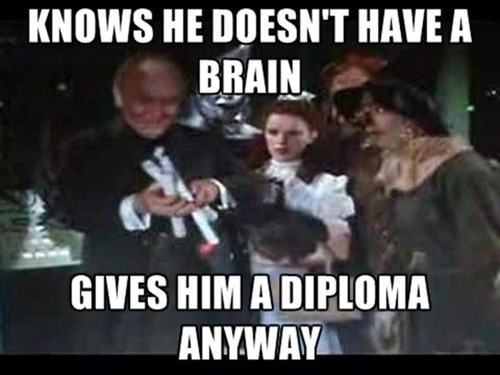 wizard of oz,diploma,brain,funny,college