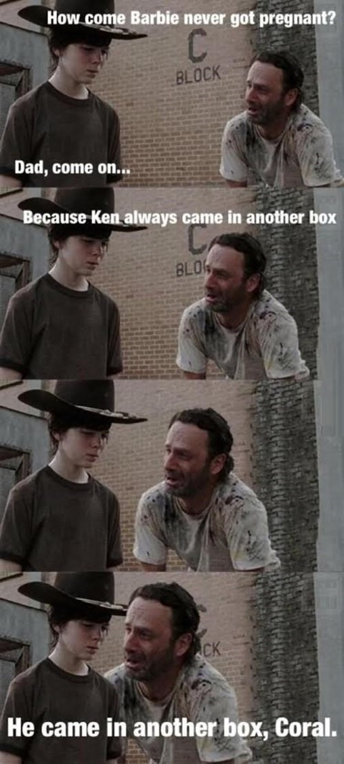 walking dead memes walking dad joke barbie pregnancy