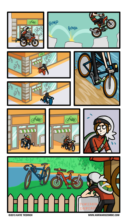 bike shop bicycles Pokémon web comics awkward zombie