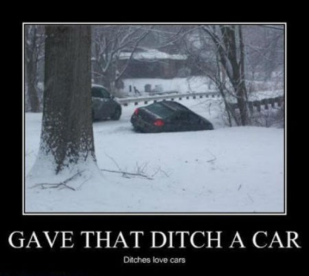 cars,ditch,snow,funny,winter