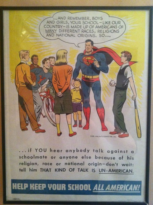 1950s Superman Knows What a True American School Looks Like