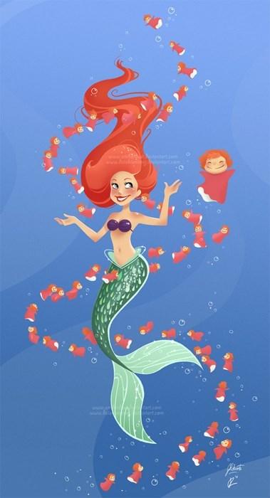 little mermaid ponyo crossover