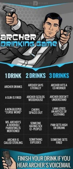 you'll be drinking a lot during the archer drinking game