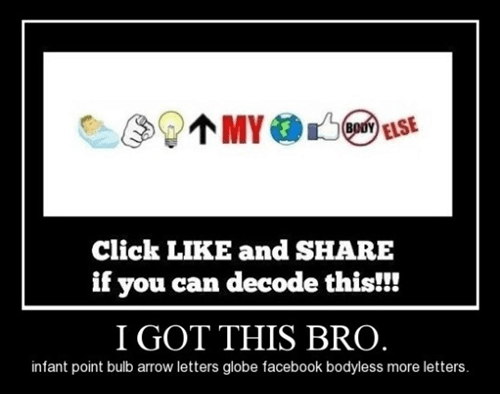 share,decode,like facebook,funny