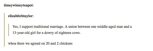 Text - timeywimeyteapot: elizabitchtaylor: Yes, I support traditional marriage. A union between one middle-aged man and a 13-year-old girl for a dowry of eighteen cows whoa there we agreed on 20 and 2 chickens