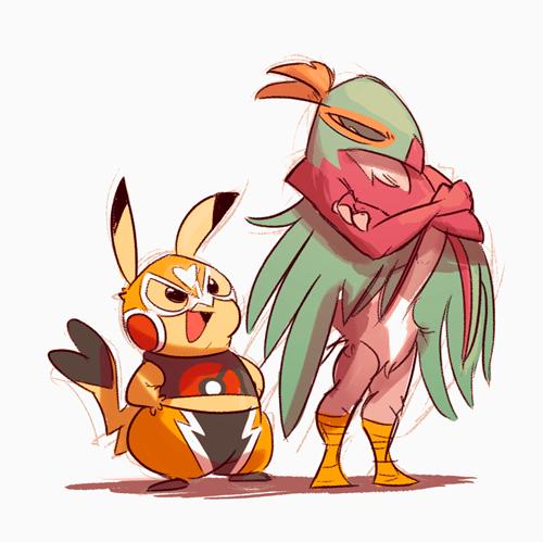 Fan Art hawluchador pikachu wrestling - 8465629696