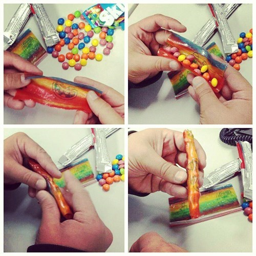 rolling up a fruit roll up blunt