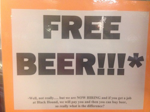 All bars offer free beer