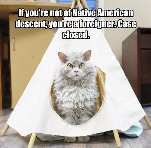 If you're not of Native American descent, you're a foreigner. Case closed.