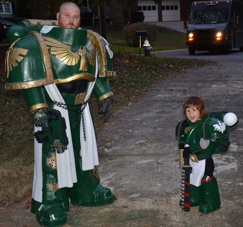 father son cosplay space marines