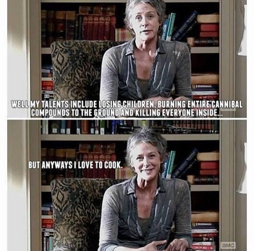funny-walking-dead-carol-cooks-kills-cleans-triple-threat