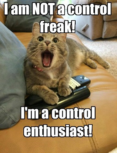 I am NOT a control freak! I'm a control enthusiast!