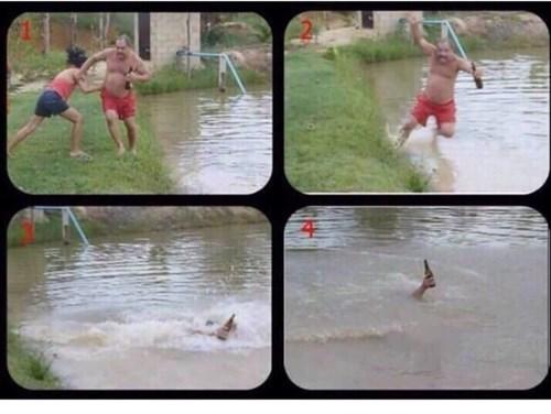 he's a true hero, keep those beers above water
