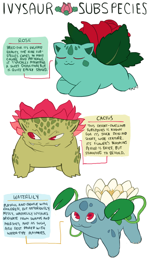 ivysaur Fan Art pokemon variations - 8468265472