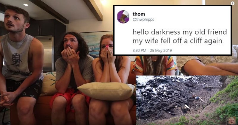 Hiking twitter mocking reaction tweets youtube mockery cliff wife marriage family - 8468741