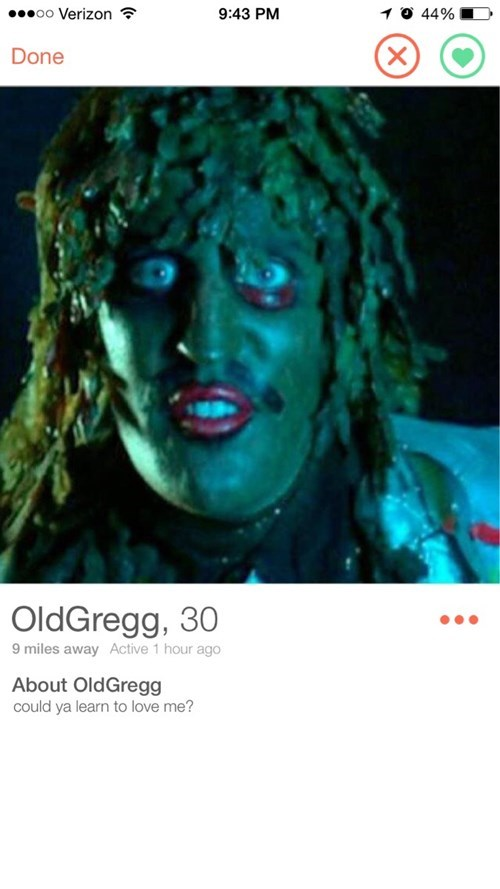 Poster - .oo Verizon 10 44% 9:43 PM X Done OldGregg, 30 9 miles away Active 1 hour ago About OldGregg could ya learn to love me?