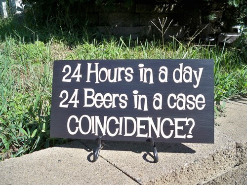 Text - 24 Hours in a day 24 Beers in a case COINCIDENCE?
