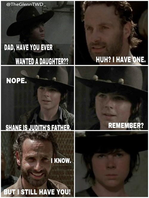 funny-walking-dead-rick-carl-daughters-dad-jokes
