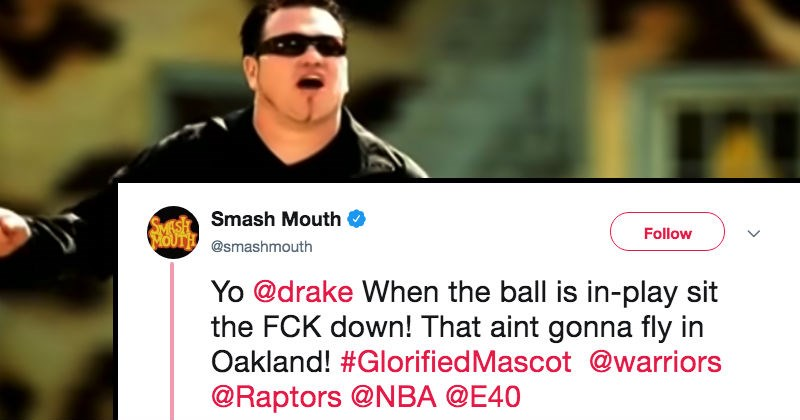 smash mouth calls out drake for standing in the audience during a sports game