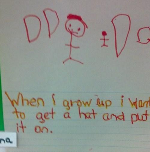 kid wants to wear a hat