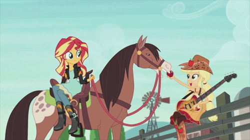 applejack,equestria girls,sunset shimmer,wha,horse