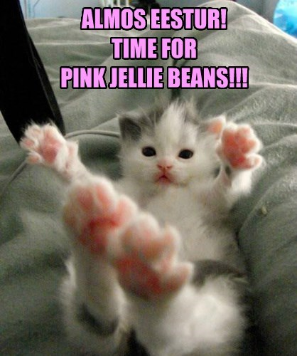 ALMOS EESTUR! TIME FOR PINK JELLIE BEANS!!!