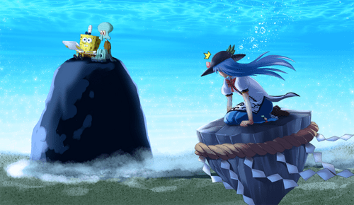 crossover,SpongeBob SquarePants,Fan Art,touhou
