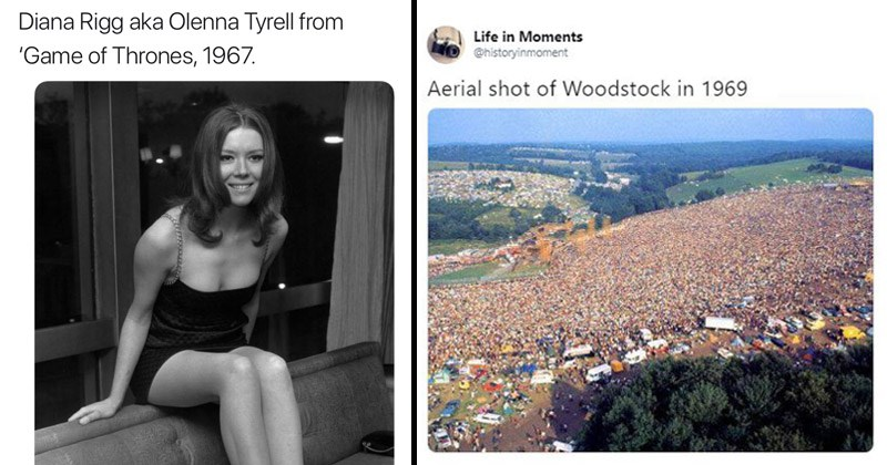 interesting historical photographs, cool old photos, young Olenna Tyrell, woodstock crowd | attractive woman sitting on the back of a sofa. Diana Rigg aka Olenna Tyrell Game Thrones, 1967. Aerial shot Woodstock 1969.