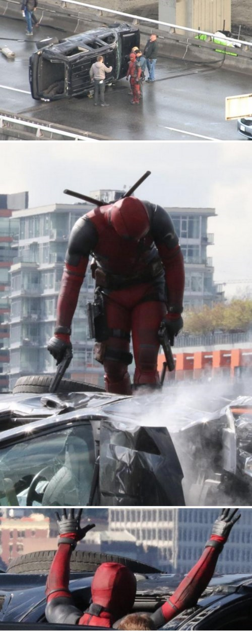 Deadpool Caught Filming a Familiar Scene
