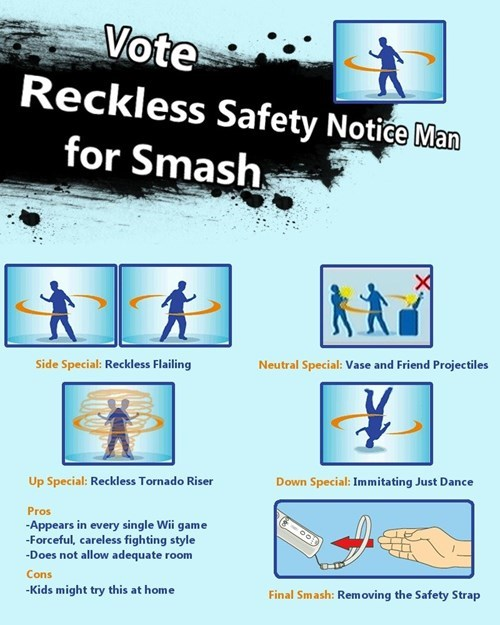 super smash bros reckless safety notice man - 8474400000