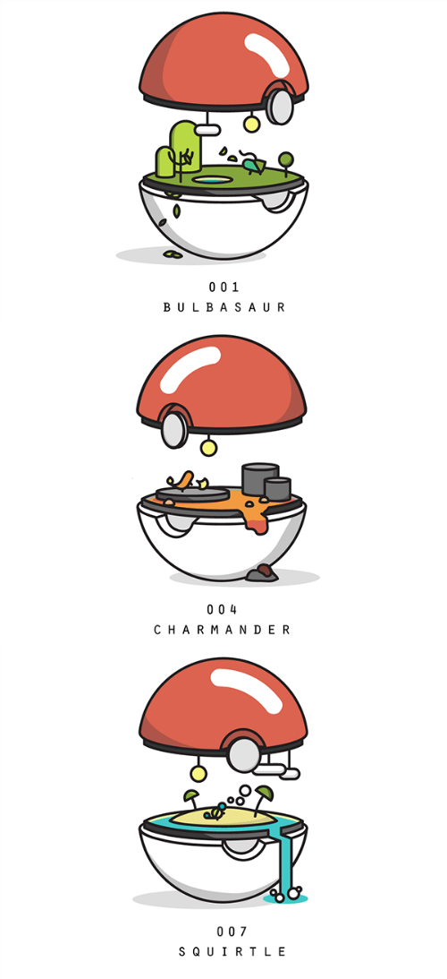 Fan Art gen 1 Pokémon starters biomes - 8474400768