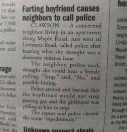 boyfriend farting makes police show up