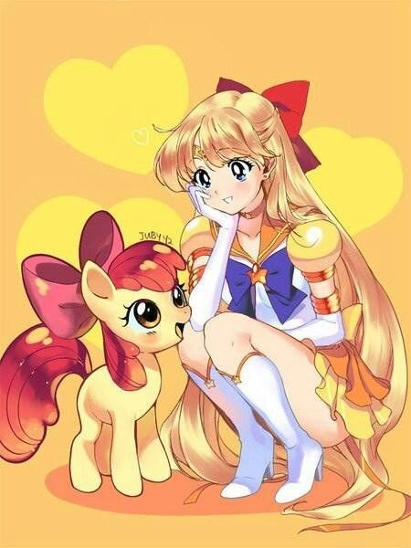 apple bloom,sailor venus,red bow